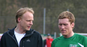 Yorck Bergenthal zufrieden nach denn Spiel im Gespräch mit Sebastian Block