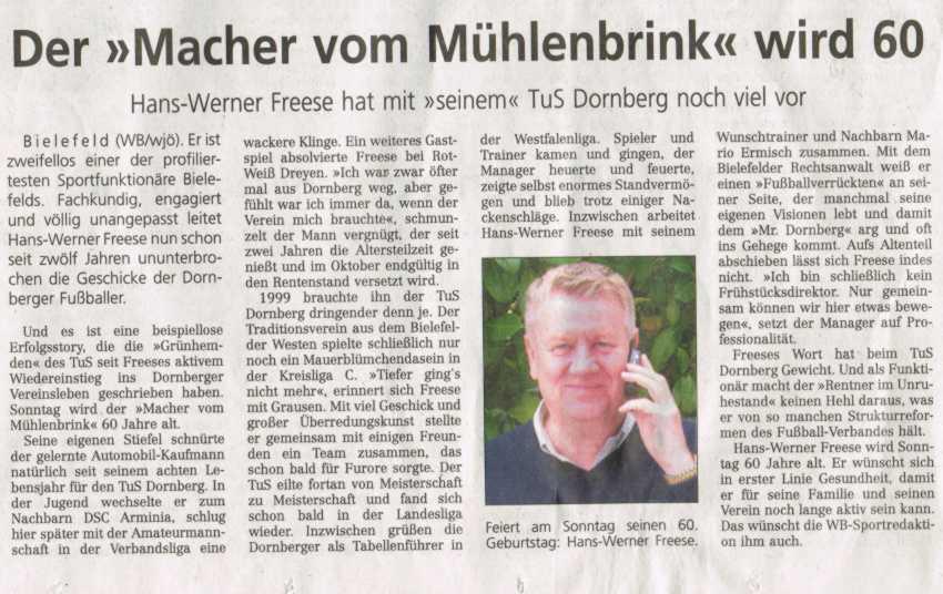 Hans-Werner Freese 60